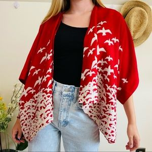 Urban Outfitters Flying Birds Red Kimono